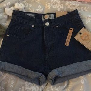 Boohoo dark denim high waisted mom shorts
